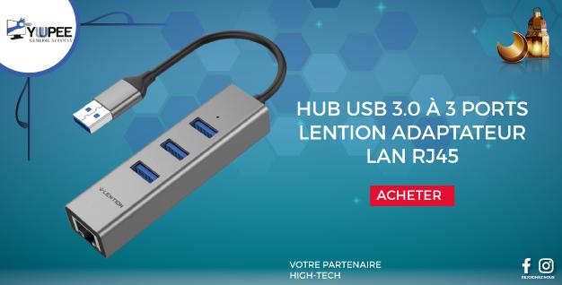 HUB USB 3.0 À 3 PORTS LENTION AVEC ADAPTATEUR LAN RJ45 RÉSEAU